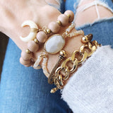 Boutique Bracelet Collection :: Beela Wooden Horn Bracelet - Rose