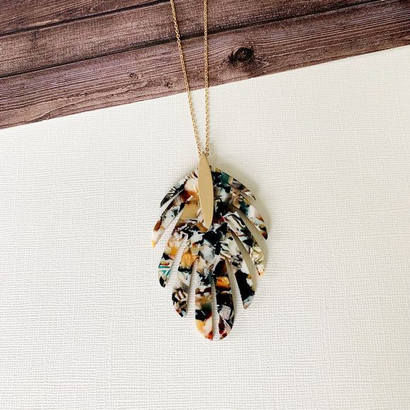 Wild Thing Necklace Collection :: Lucite Leaf Pendant