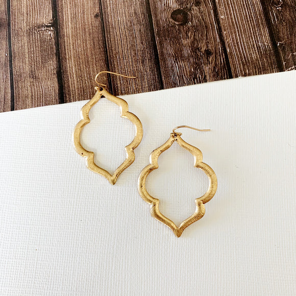 Watercolor Earring Collection :: Gold Moroccan Drops