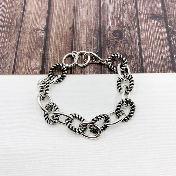 Cable Bracelet Collection :: Allison Textured Links Silver