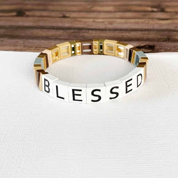 Boutique Bracelet Collection :: Blessed Tile Bracelet Neutral Multi