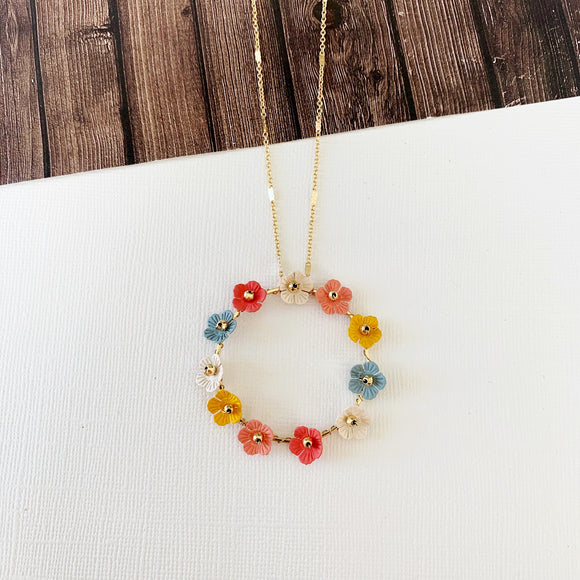 Spring Refresh Necklace Collection :: Cathy Multi Colored Floral Hoop Pendant