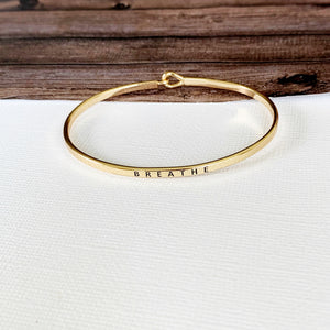 Boutique Bracelet Collection :: Eloise Breathe Skinny Gold Cuff