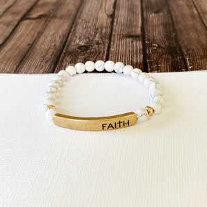 Boutique Bracelet Collection :: Faith Natural Stone - Howlite