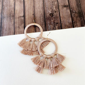 Baubles & Bits Boutique :: Kinsley Blush Hooped Tassel Drop Earrings