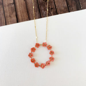 Spring Refresh Necklace Collection :: Cathy Coral Floral Hoop Pendant