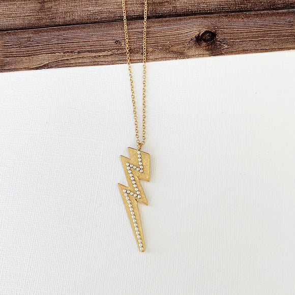 Watercolor Necklace Collection :: Gold Lightning Bolt Midi Pendent