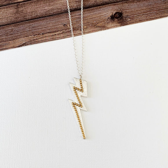Watercolor Necklace Collection :: Silver Lightning Bolt Midi Pendent