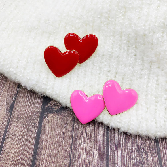 Baubles & Bits Boutique :: Emma Enamel Heart Post-backs - Pink or Red