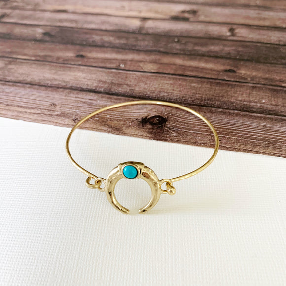 Boutique Bracelet Collection :: Angie Turquoise Crescent Moon Cuff - Gold