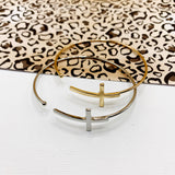 Boutique Bracelet Collection :: Elliana Silver Delicate Sideways Cross Cuff Bracelet