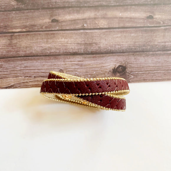 Boutique Bracelet Collection :: Wynter Wine Leather Wrap