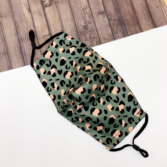 Reusable Face Mask :: Olive Green Leopard