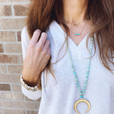 Baubles & Bits Boutique :: Brianna Turquoise Beaded Gold Crescent Long Necklace