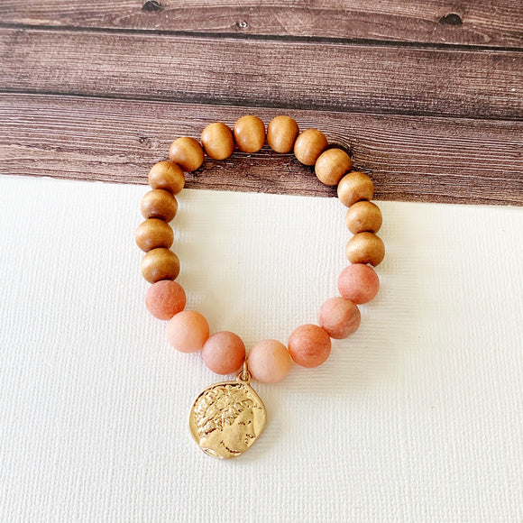Boutique Bracelet Collection :: Gwen Natural Stone Coin Charm Bracelet - Rose Quartz