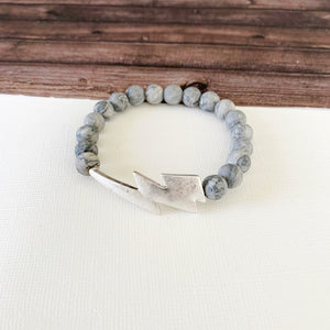 Boutique Bracelet Collection :: Jessa Natural Stone - Grey Agate