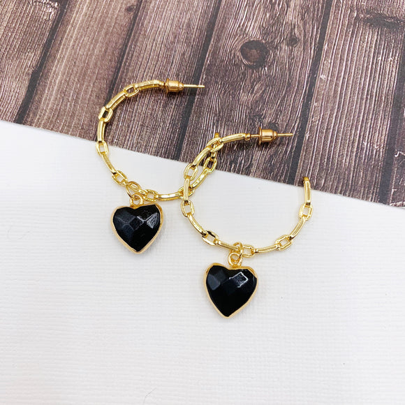 Hoopla Hoop Earring Collection :: Mabel Onyx Heart Drop Chain Link Hoop Earrings