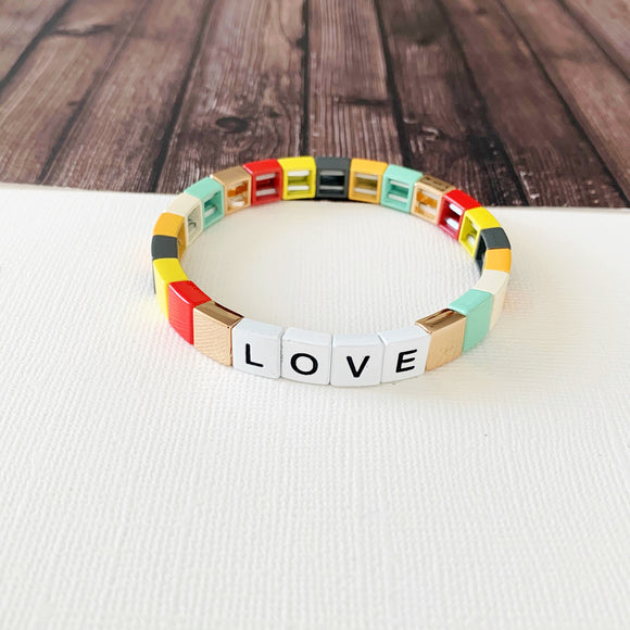 Boutique Bracelet Collection :: Love Muted Rainbow Mint Tile Bracelet