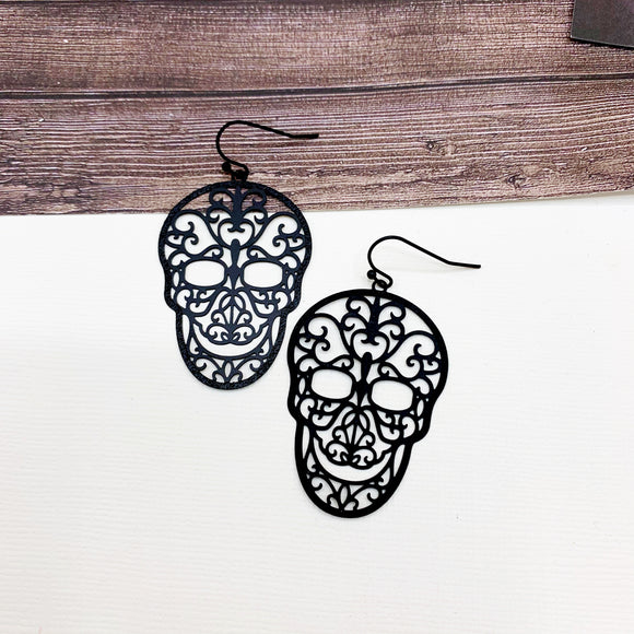 Halloween Party Earring Collection :: Cassie Sugar Skull Drops - Matte Black