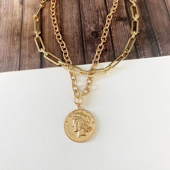 Baubles & Bits Boutique :: MollyAnn Coin Toggle & Paperclip Chain Choker Necklace Bundle - Gold