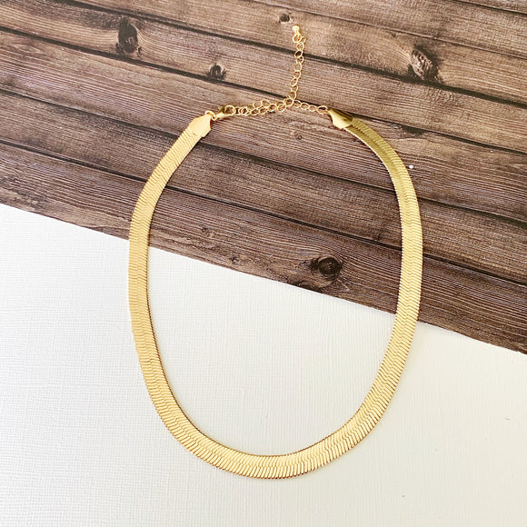 Baubles & Bits Boutique :: Nia Gold Herringbone Chain Necklace
