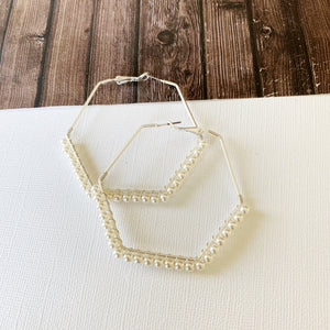 "Hoopla Hoop Earring Collection :: Kaylee Silver Pearl 2.5"" Hexagon Hoops"