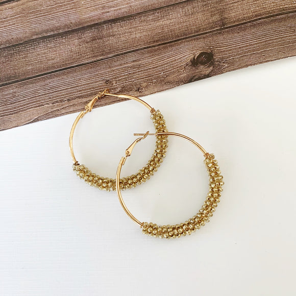 Baubles & Bits Boutique :: Isabella Gold Beaded Hoops