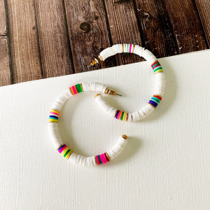 "Hoopla Hoop Earring Collection :: Maria White Multi-Hued Clay Disc 2"" Hoops"