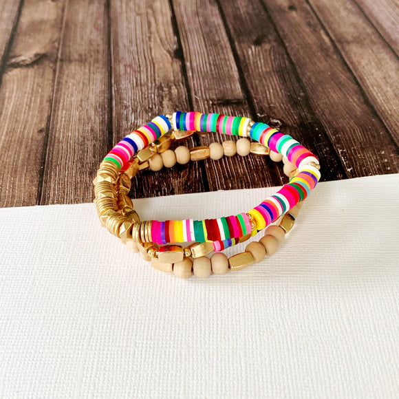 Beach Bracelet Collection :: Eliza Natural Multi-Hued Stack