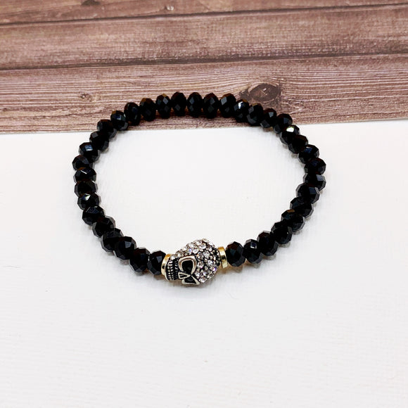 Boutique Bracelet Collection :: Paved Skull Black Beaded Bracelet