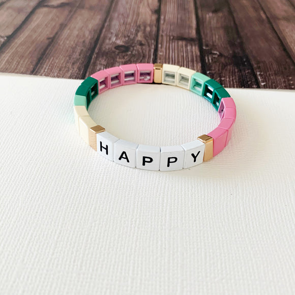 Boutique Bracelet Collection :: Happy Rose Tile Bracelet