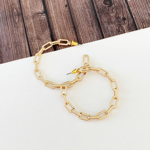 "Hoopla Hoop Earring Collection :: Celia Gold 1.5"" Chain Linked Hoops"