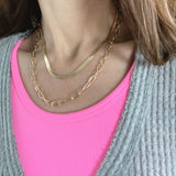 Layered Look Necklaces :: Lauren Herringbone and Paperclip Chain - Gold