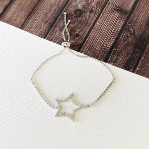 Boutique Bracelet Collection :: Piper Silver Pave Star Slider Bracelet