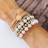 Beach Bracelet Collection :: Lizbeth Natural Stone - White Quartz