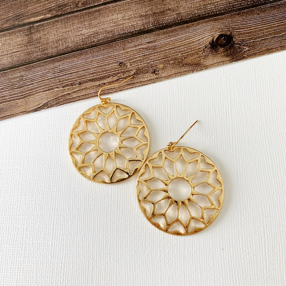 Mixed Metals Earring Collection :: Reina Gold Cutout Disc Drops