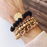 Boutique Bracelet Collection :: Adley Coin Charm Bracelet - Matte Black Crystal
