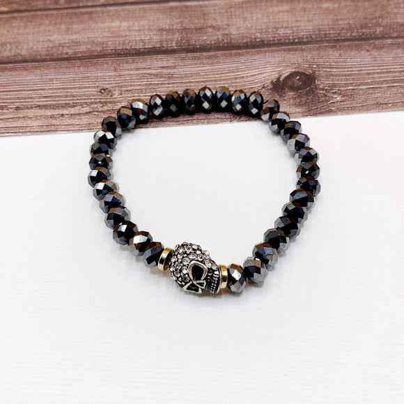 Boutique Bracelet Collection :: Paved Skull Smokey Charcoal Beaded Bracelet