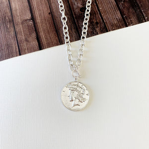 Baubles & Bits Boutique :: Coin Toggle Necklace - Silver