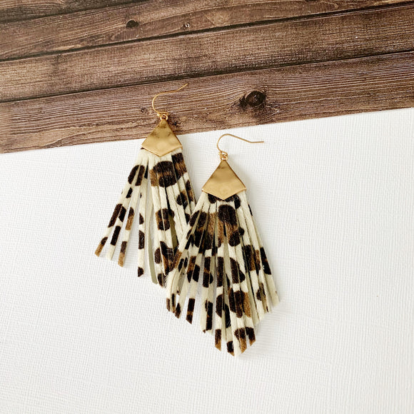 Stay Wild Earring Collection :: Elisa White Leopard Fringe