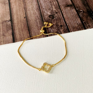Boutique Bracelet Collection :: Lauren Pave Gold Petite Clover Slider Bracelet