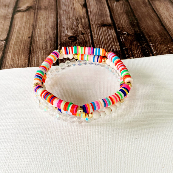 Beach Bracelet Collection :: Skylar White Multi-Hued Stack
