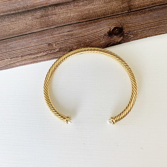 Cable Bracelet Collection :: Jillie Gold White Pearl