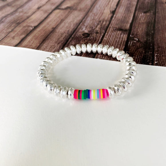 Beach Bracelet Collection :: Kilty Silver Ball Bead Bracelet with Neon Disc Accents