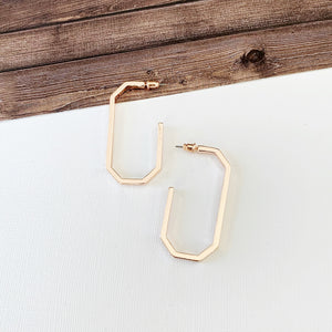 "Hoopla Hoop Earring Collection :: Leanna Rose Gold 2"" Elongated Octagon Hoops"
