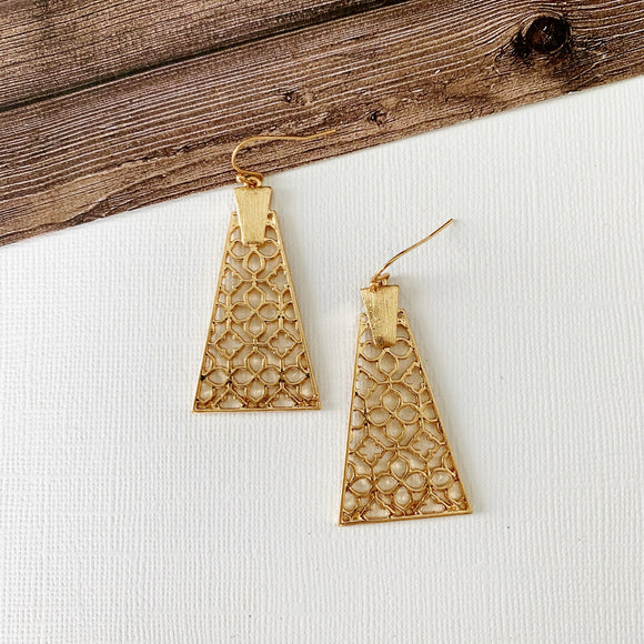 Mixed Metals Earring Collection :: Hunter Gold Aztec Drops