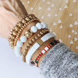 Boutique Bracelet Collection :: Collins Matte Gold Stacked Ball Bracelets
