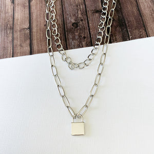 Layered Look Necklaces :: Abril Lock Layered Necklace - Silver