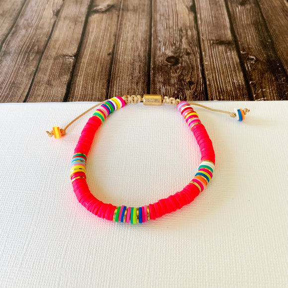 Beach Bracelet Collection :: Delilah Hot Pink Multi-Hued Slider Bracelet