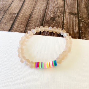 Beach Bracelet Collection :: Beela Blush Crystal Bead with Neon Disc Accents